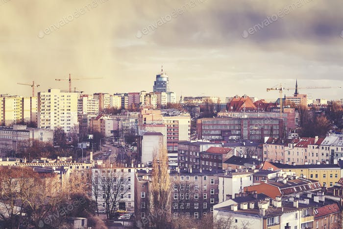 Szczecin City at sunset, Poland.