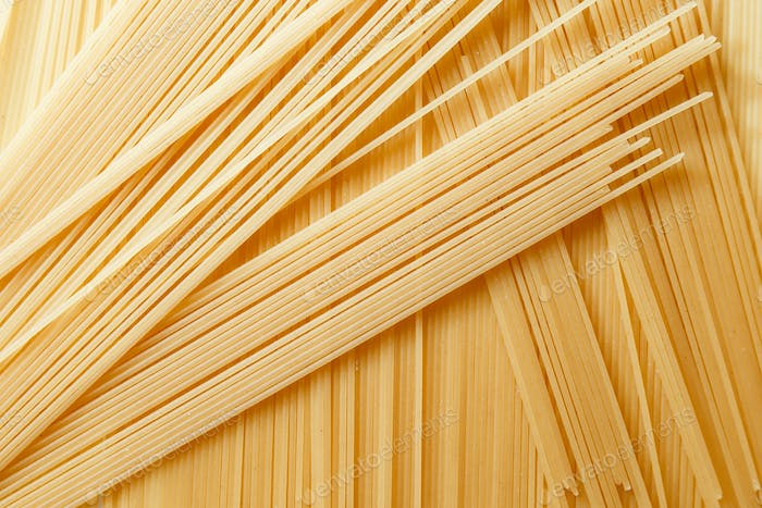Close up view of dry spaghetti