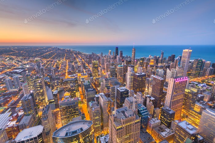 Chicago, Illinois USA aerial skyline after sunset.