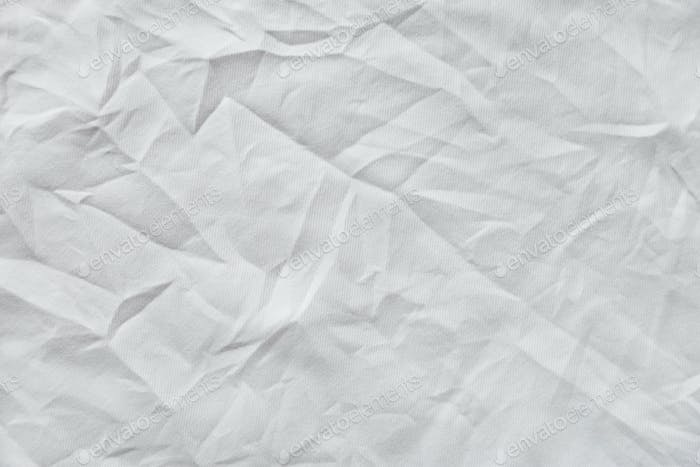 White wrinkled canvas cloth texture background
