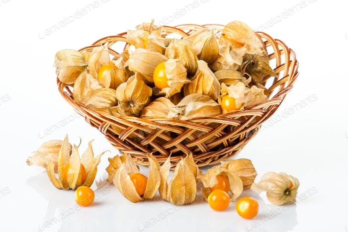 Ripe physalis isolated on a white background.  Physalis peruvian