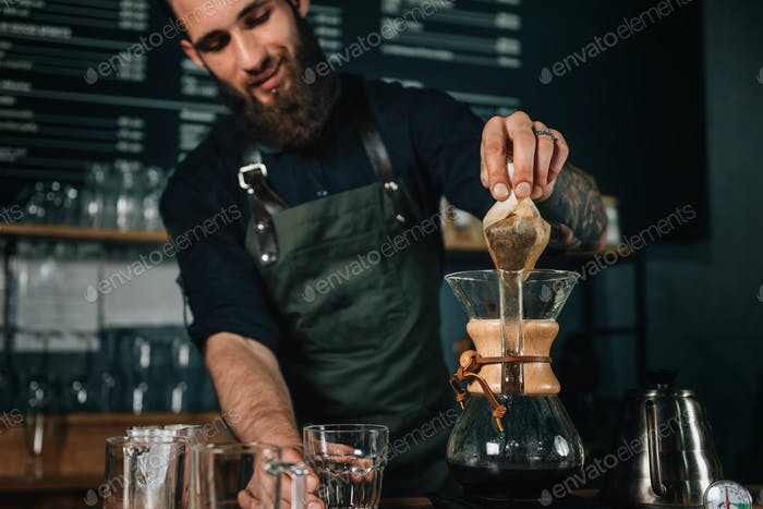 Barista Making Chemex Coffee
