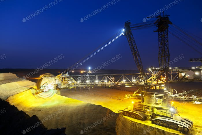 Large Bucket-Wheel Excavator At Night