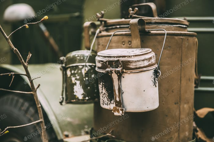 Vieux Soviétique russe guerre mondiale II Marching Pot Dixie. Seconde Guerre mondiale Militaire