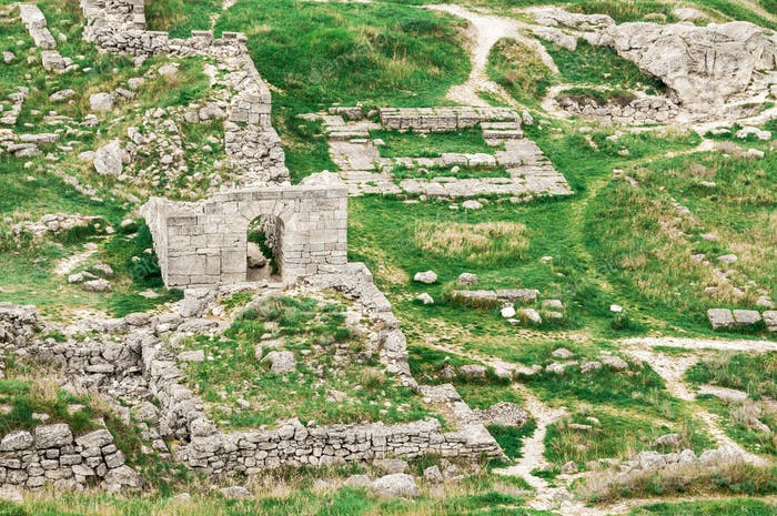 Archaeological excavations of an ancient structure. Crimea, Mith