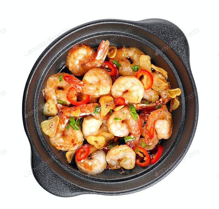bowl of garlic prawns