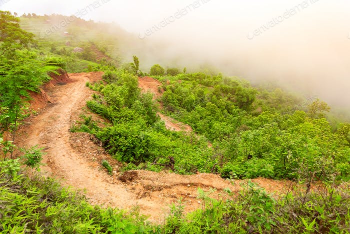 pathway landscape in mountains