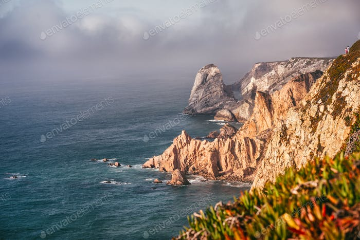 Portugal cabo da roca and Ursa beach location with stunning scenic view of cliff rocks at atlantic