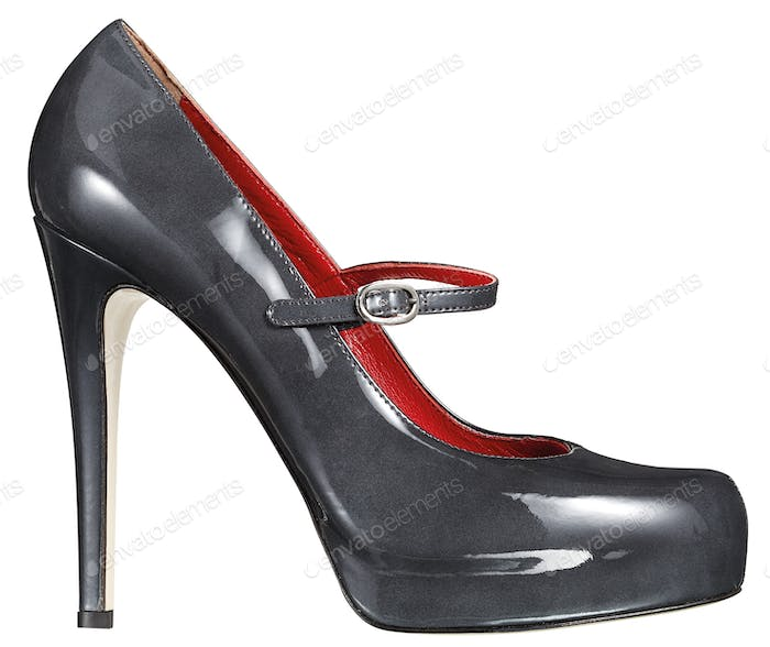 Grey stiletto patent leather shoe on white