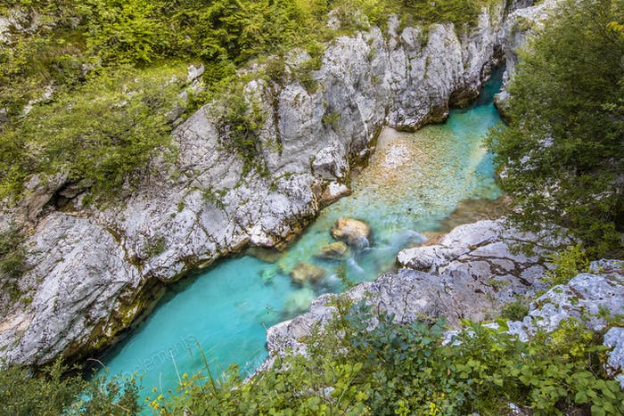 Clear blue Soca river