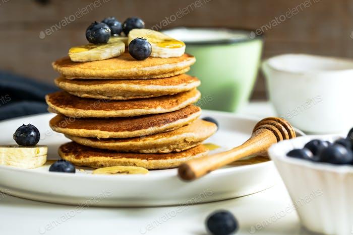 Banana Oat Pancake with fresh Blueberry and Banana,