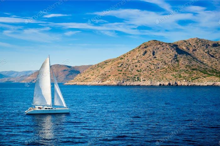 Catamaran yacht in Aegean Sea