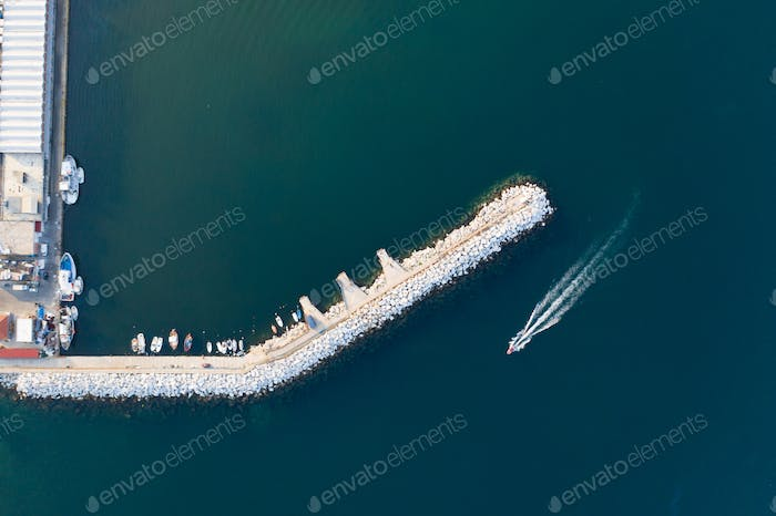 Aerial view of harbor of boats in Kavala, Greece.