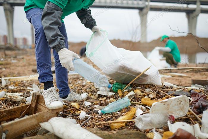 Picking plastic bottles