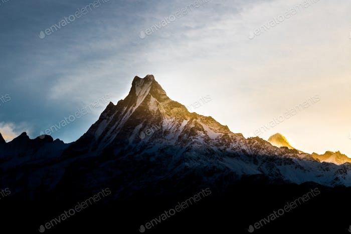 Sunrise over East of Mount Machapuchare