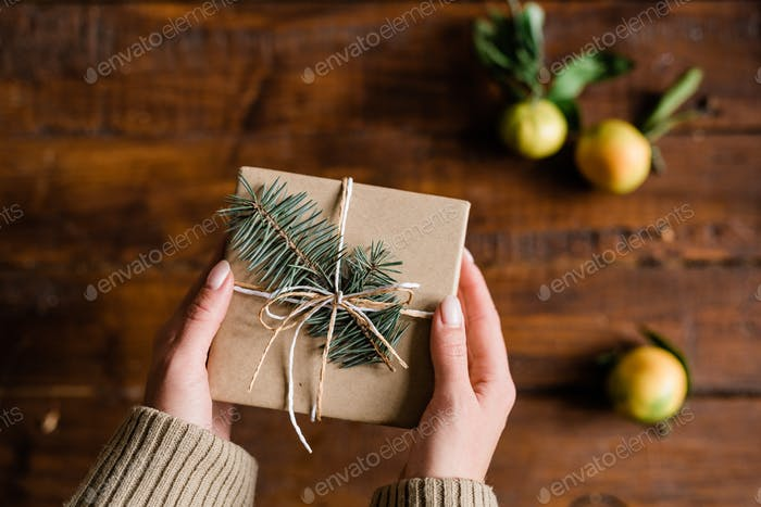 View of female hands with packed and wrapped giftbox with conifer on top