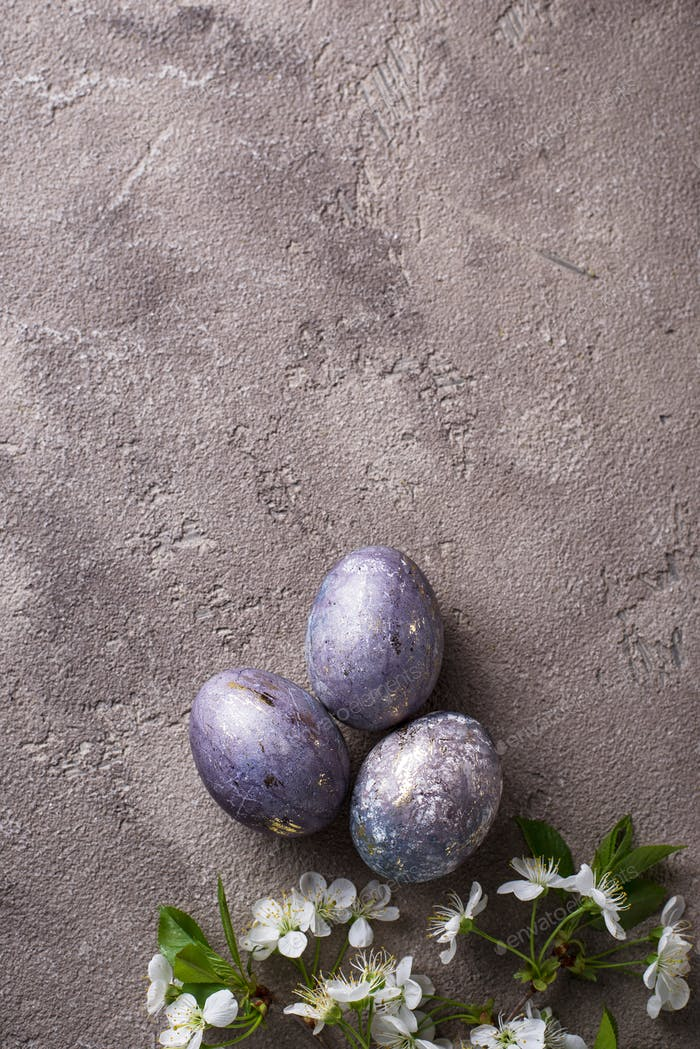 Easter painted eggs with marble effect