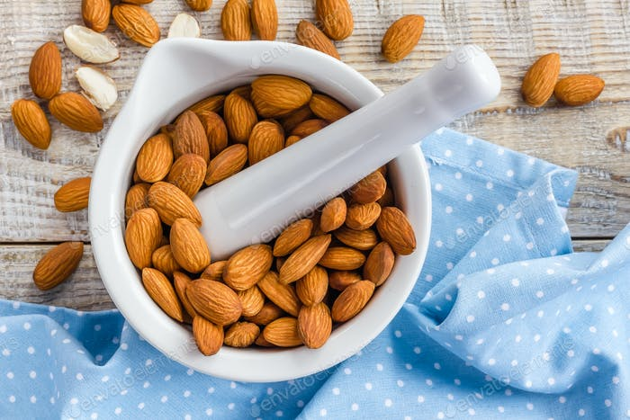 Almond nuts, vegan healthy food, superfood