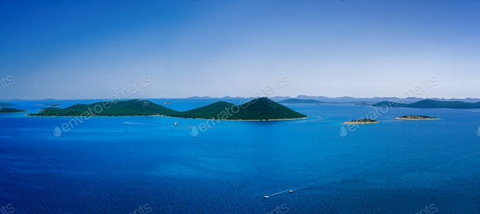 Amazing Kornati islands of Croatia. Seascape from Zadar to Sibenik.
