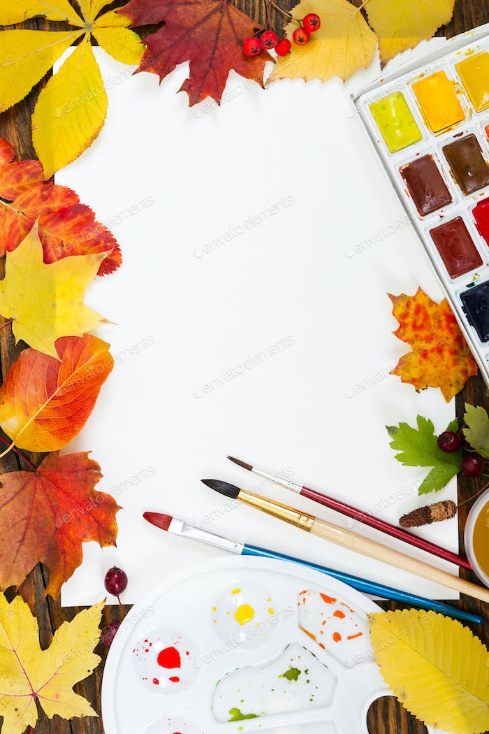 Workplace of artist. Autumn concept. Top view.