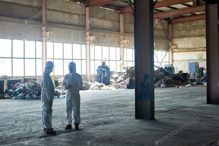 Workers in Empty Waste Processing Workshop