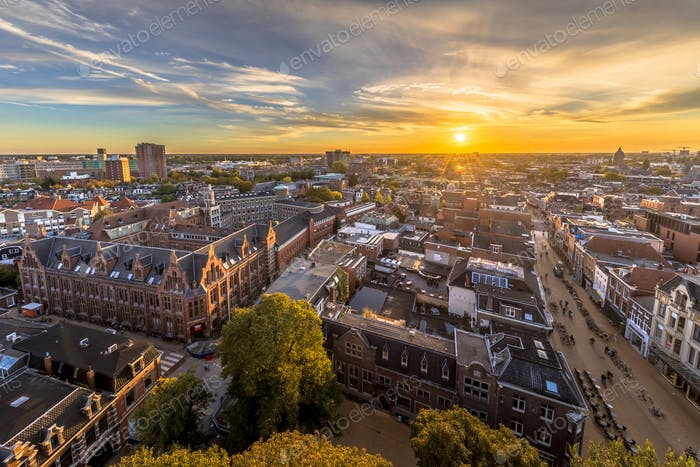 Skyline of historic Groningen city