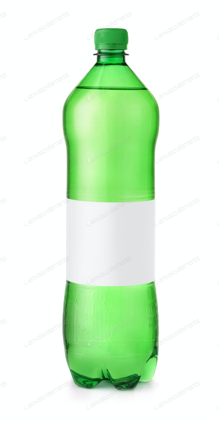 Green plastic water bottle with blank label