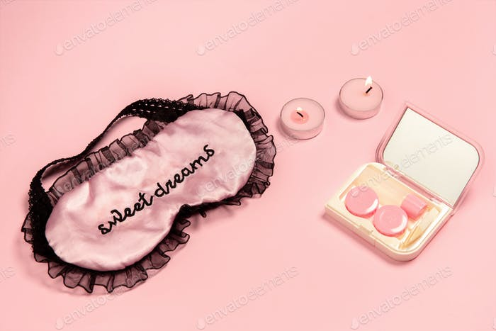Soft and feminine. Monochrome stylish composition in pink color. Top view, flat lay