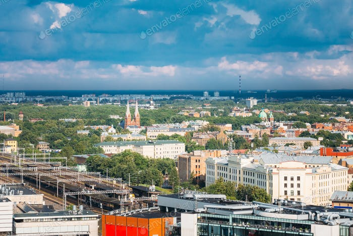 Riga, Latvia. Aerial Cityscape. Top View Of Landmarks - Riga Cen