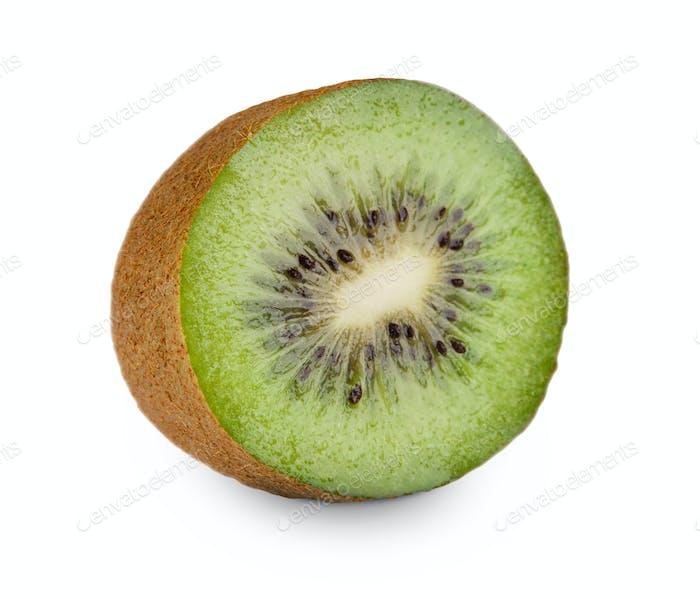 One fresh kiwi half isolated on white background