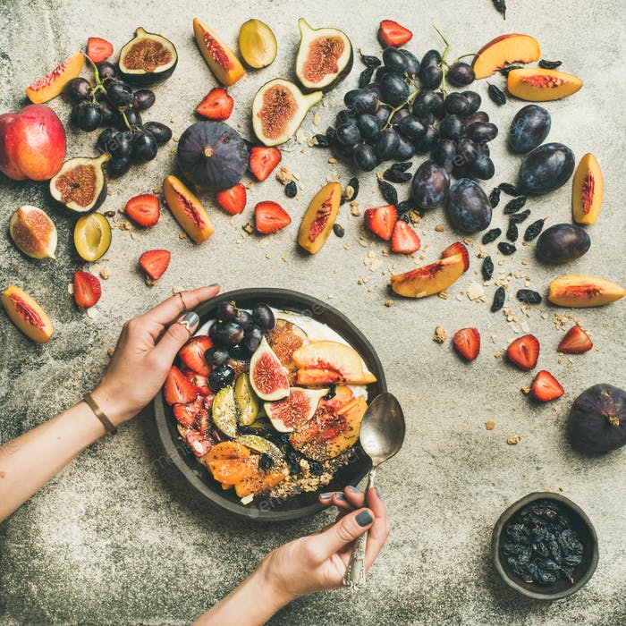 Healthy seasonal fall breakfast variety and womans hands