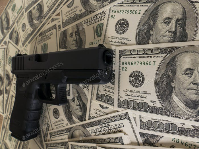 Gun on US dollar banknotes, crime and corruption.