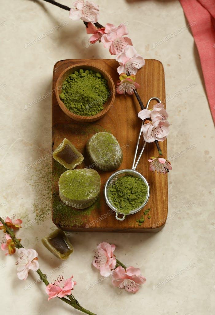 Mochi with Matcha Tea