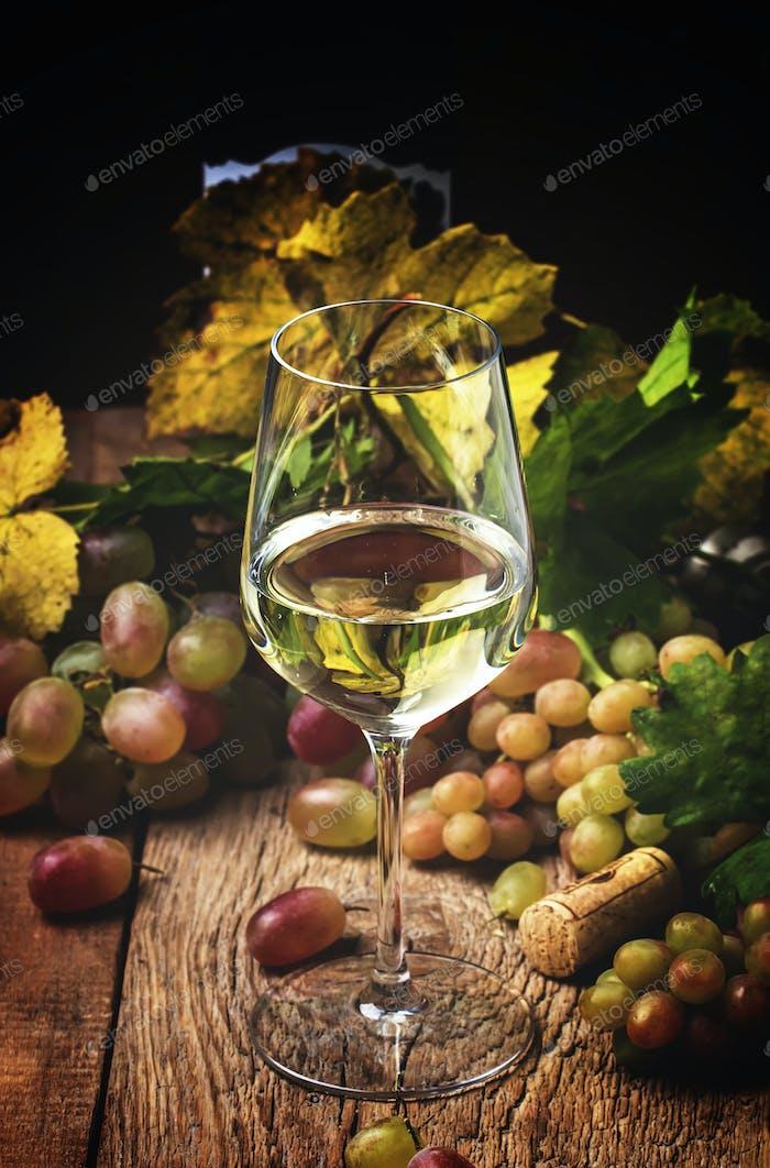 Trockener Weißwein im Glas, rustikales Stillleben