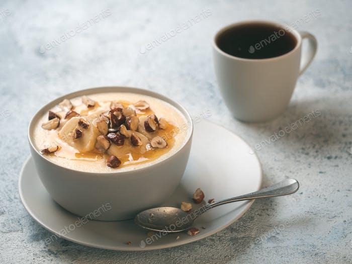 breakfast - sweet corn polenta porridge and coffee
