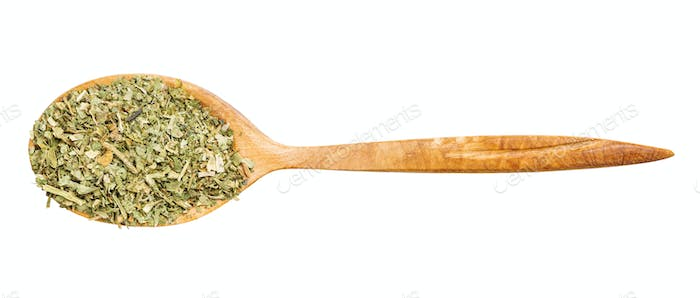top view of spoon with ground parsley isolated
