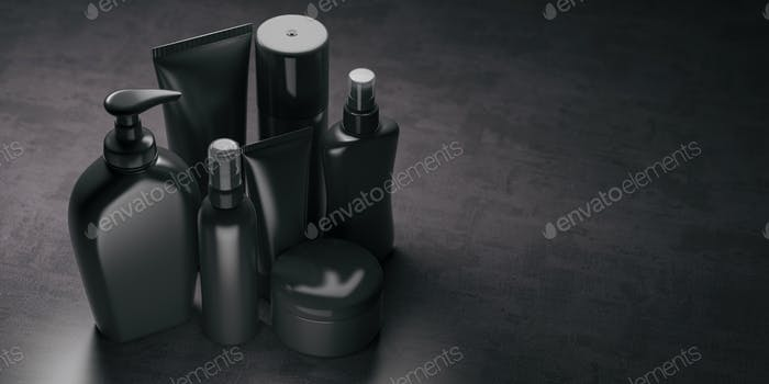 Set of black  luxury cosmetic product.