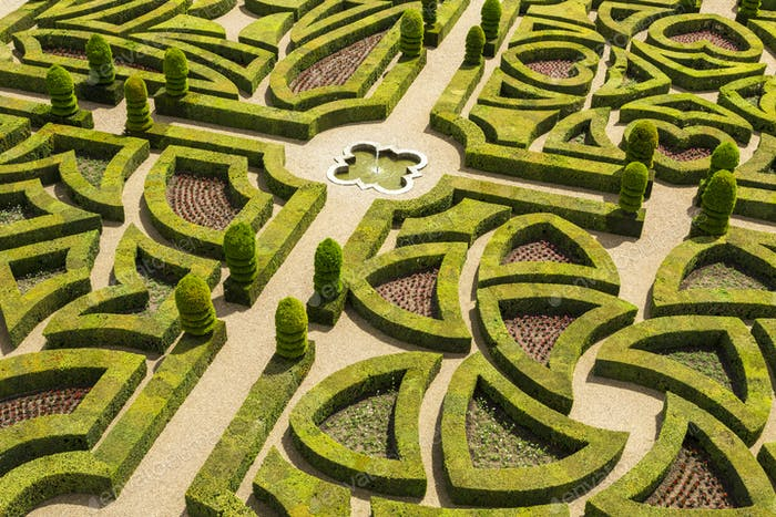 High angle view of parterre in the formal gardens of a baroque chateau.