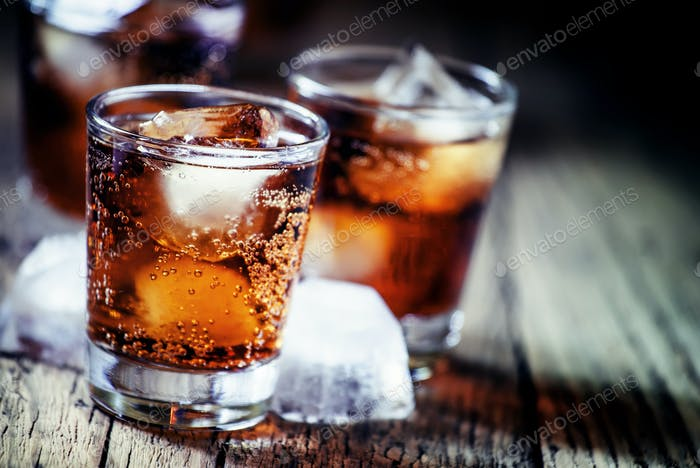 Rum and cola and ice