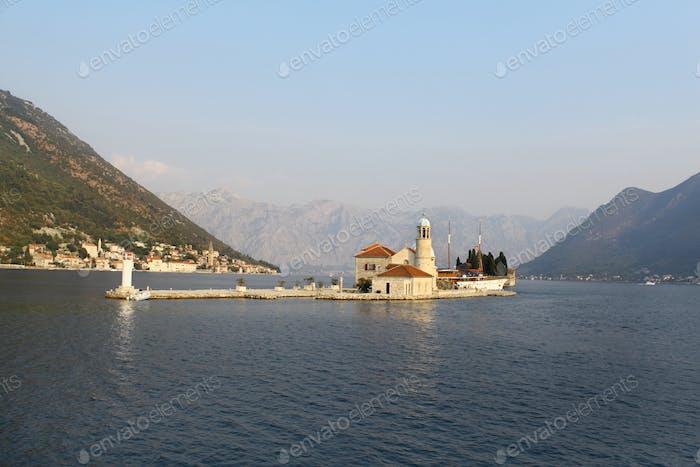 Island church in Perast Boka Kotorska Bay, Montenegro