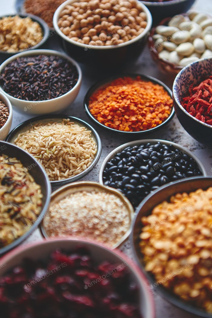 Assortment of different kinds organic natural foods and superfoods