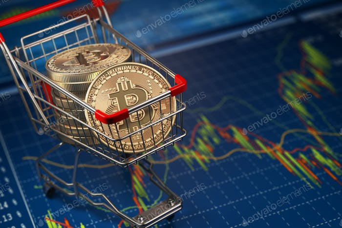 Bitcoin BTC coins in the shopping cart on the financial diagram.