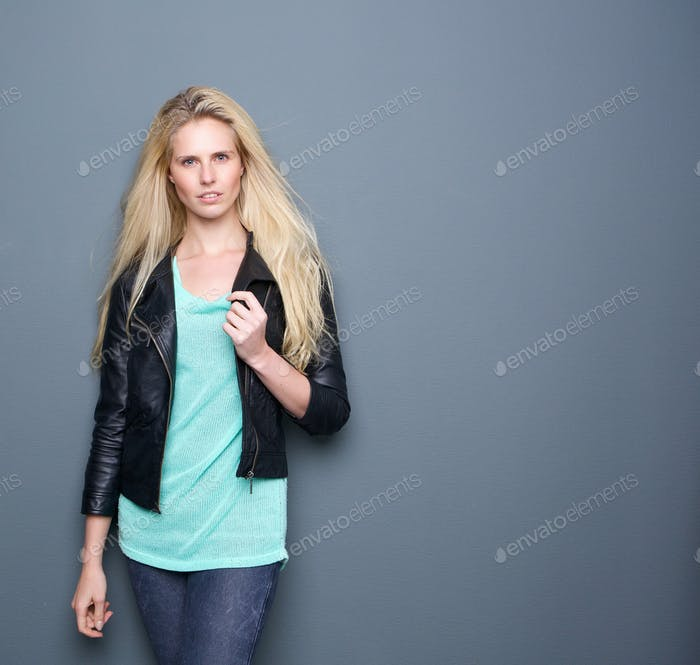Attractive female posing with black leather