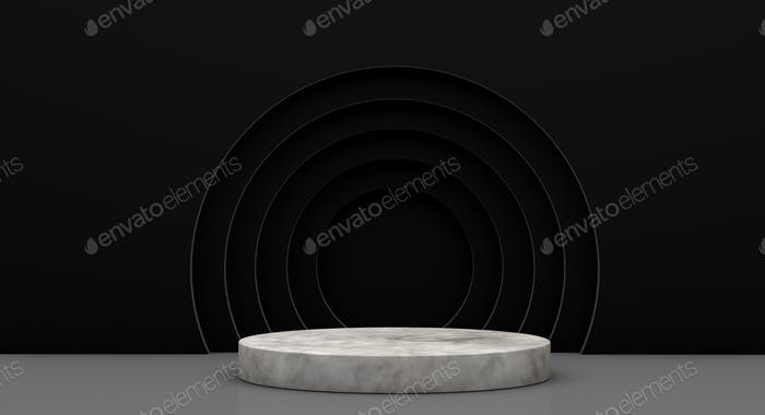 Podium for product presentation with yellow circles, 3d render background