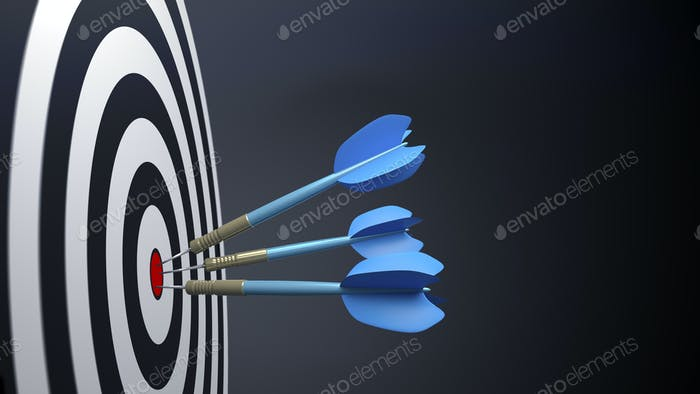 three blue typical dart arrows