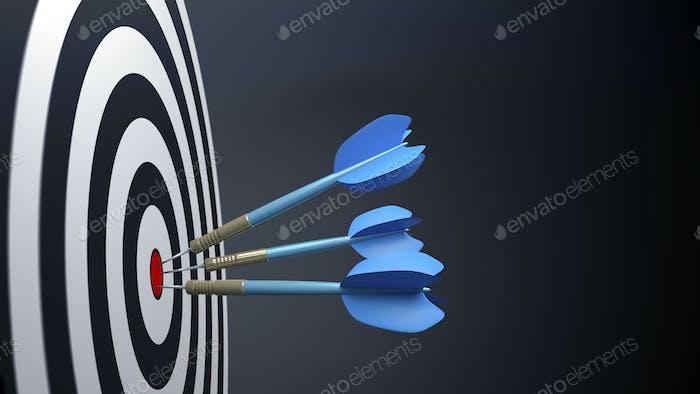 tres flechas azules típicas de dardos