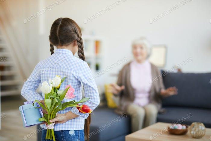 Girl Surprising Grandma