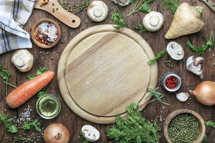 Ingredients for prepare green lentils