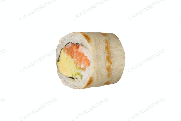 traditional sushi roll isolated