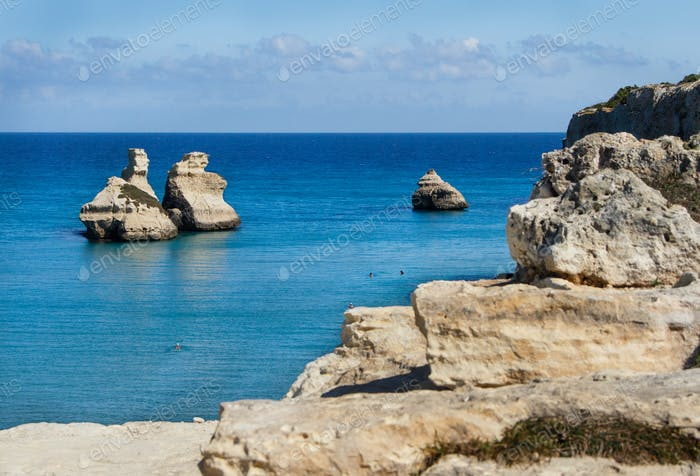 Torre dell'Orso beach with Two Sisters stacks